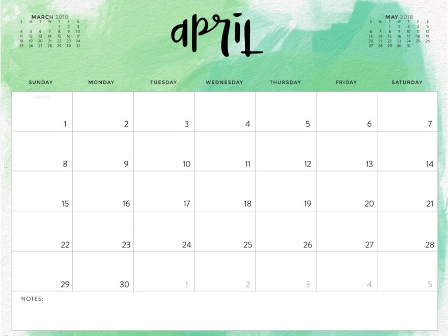 April 2018 Monthly Blank Printable Calendar | April 2018 Calendar
