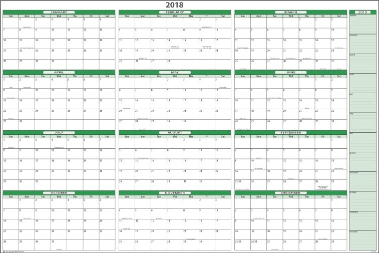 Printable Calendar 2018 | Yearly Calendar Download | January 2019