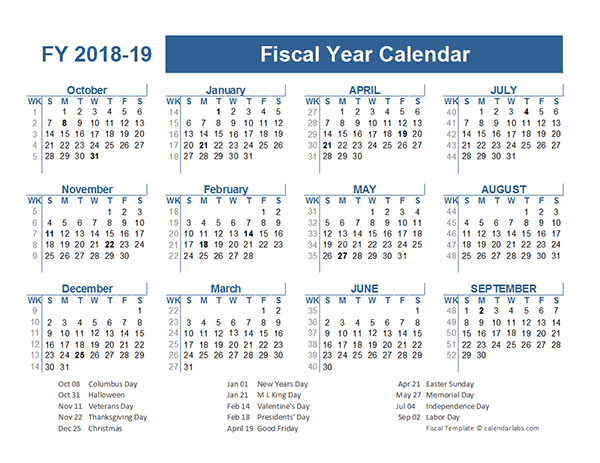 2018 2019 Fiscal Planner US Free Printable Templates