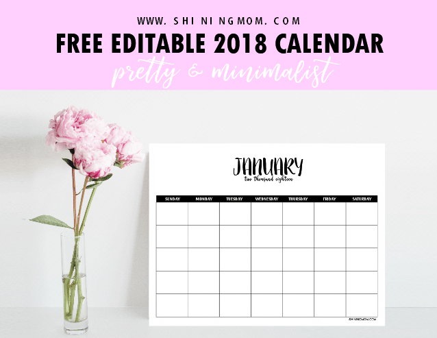 fillable calendar template 2018 free fully editable 2018 calendar