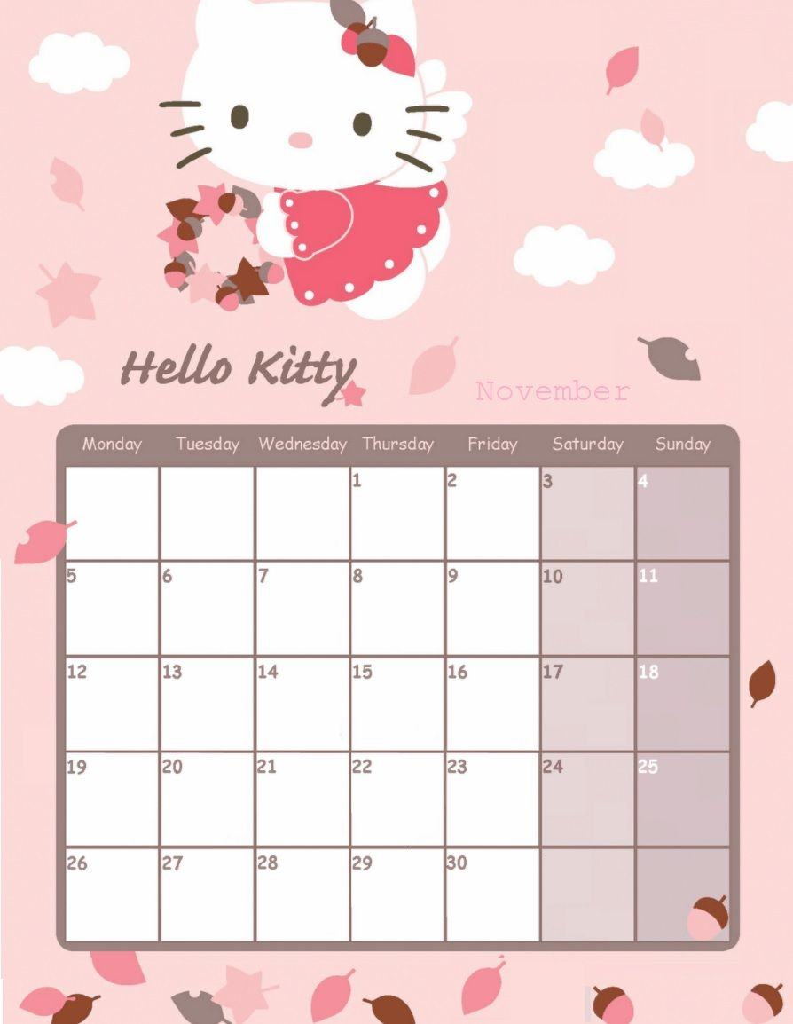 Hello Kitty November 2018 Calendar | Calendar 2018 | Pinterest