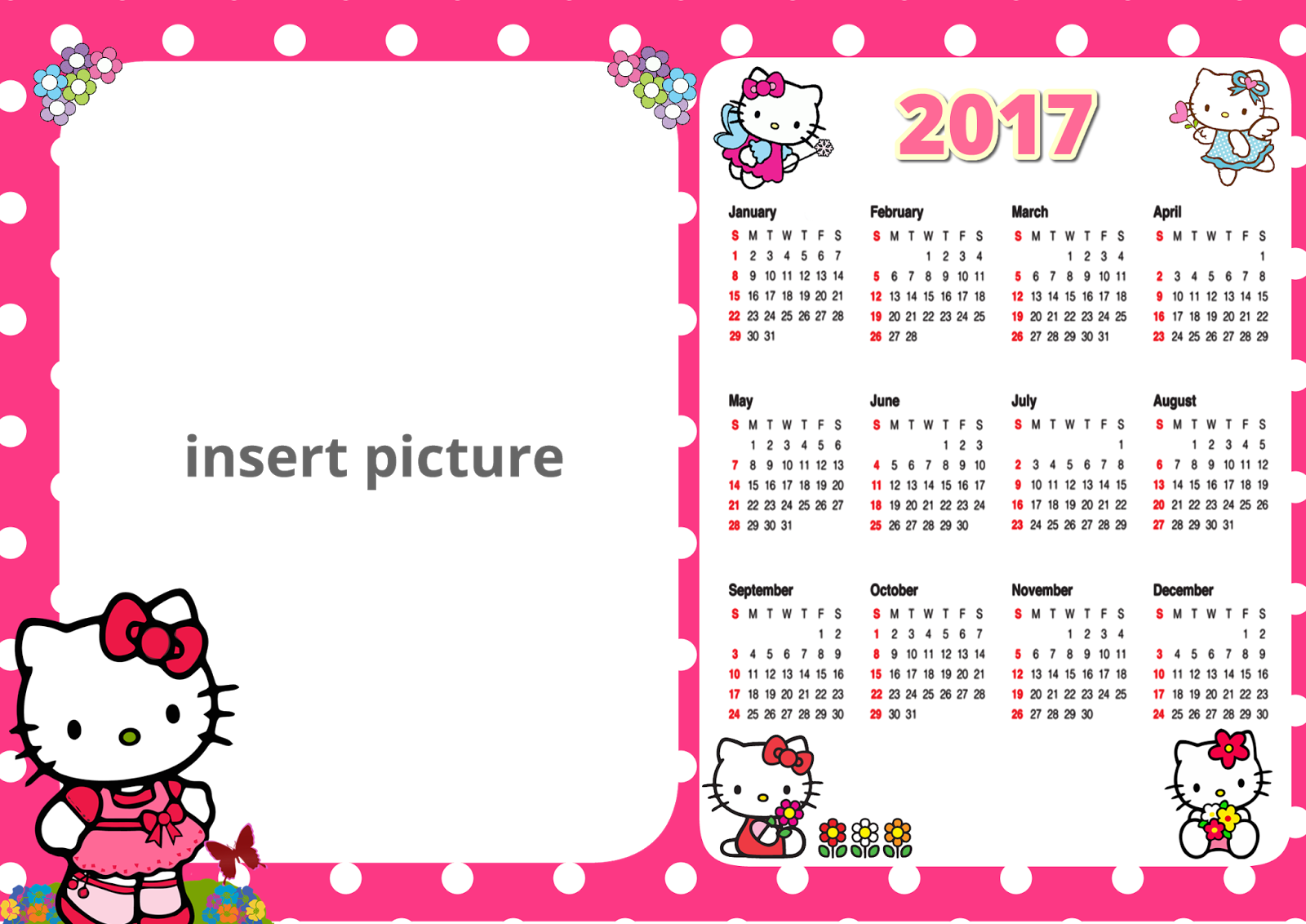 Hello Kitty 2017 Calendar Free | Calendar Template 2018