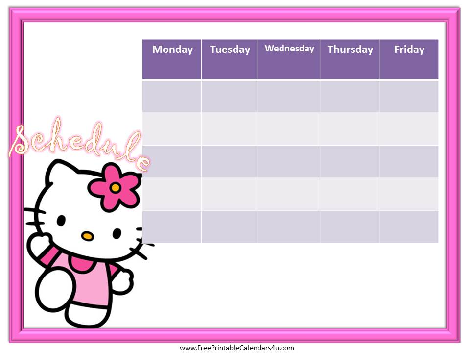 Timetable Calendar Template Luxury Hello Kitty Weekly Calendar
