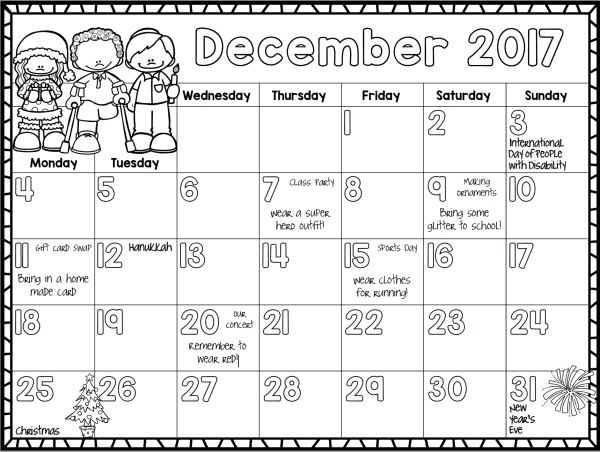Free 2017 Monthly Calendar for Kids | Liz's Early Learning Spot