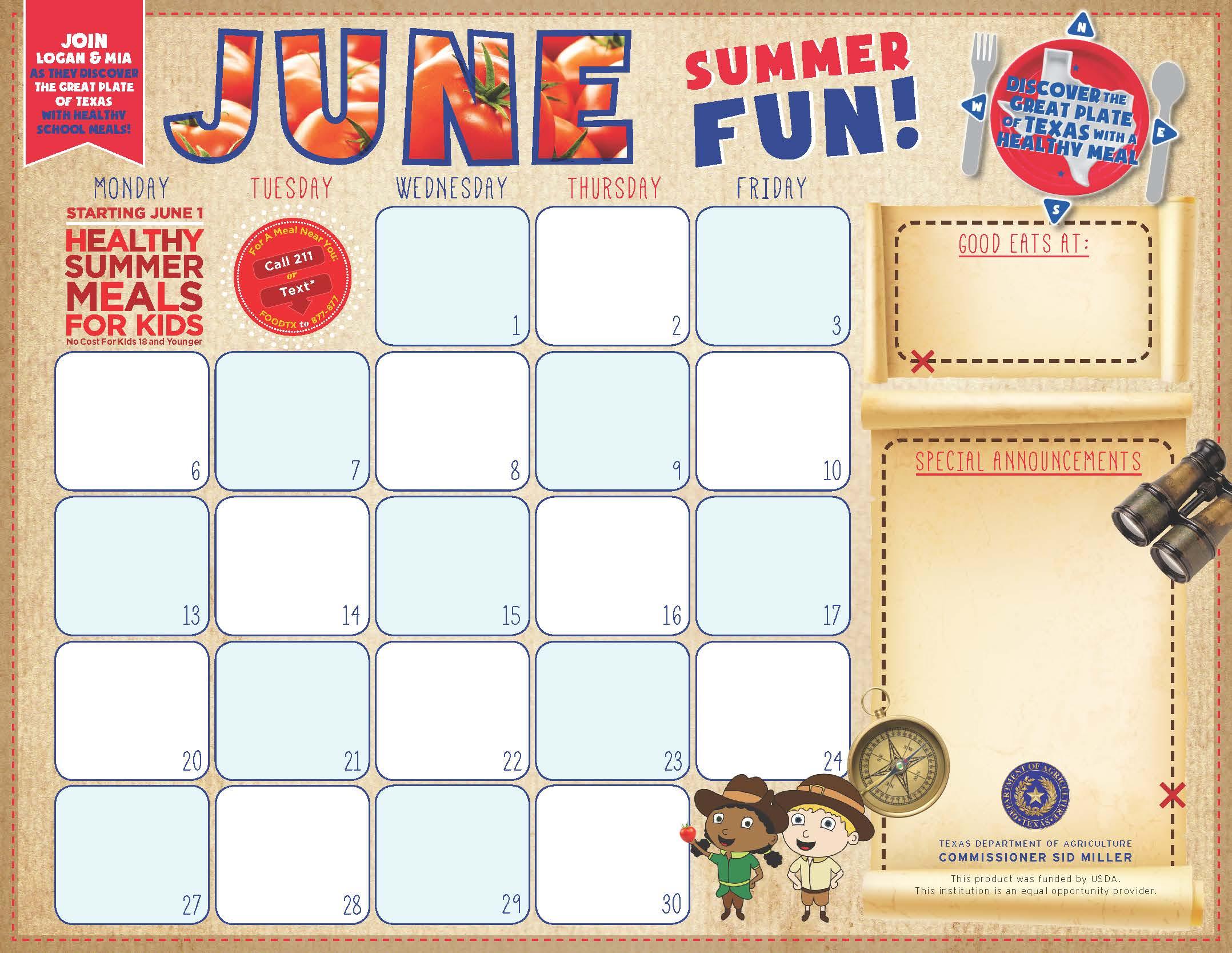 F&N Menu Calendar Templates