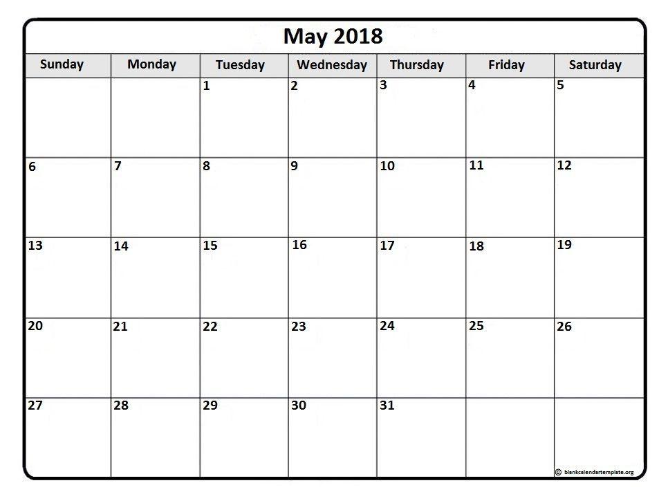 May Month Calendar 2018