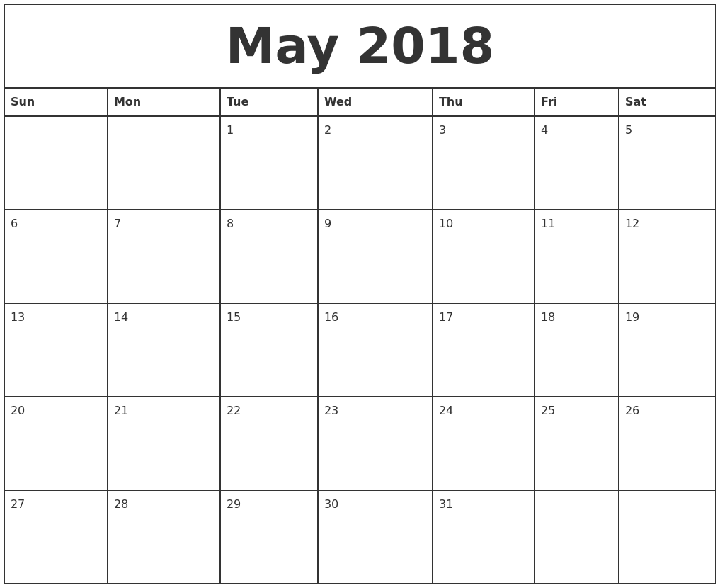 May 2018 Printable Monthly Calendar Fancy | mightymic.org