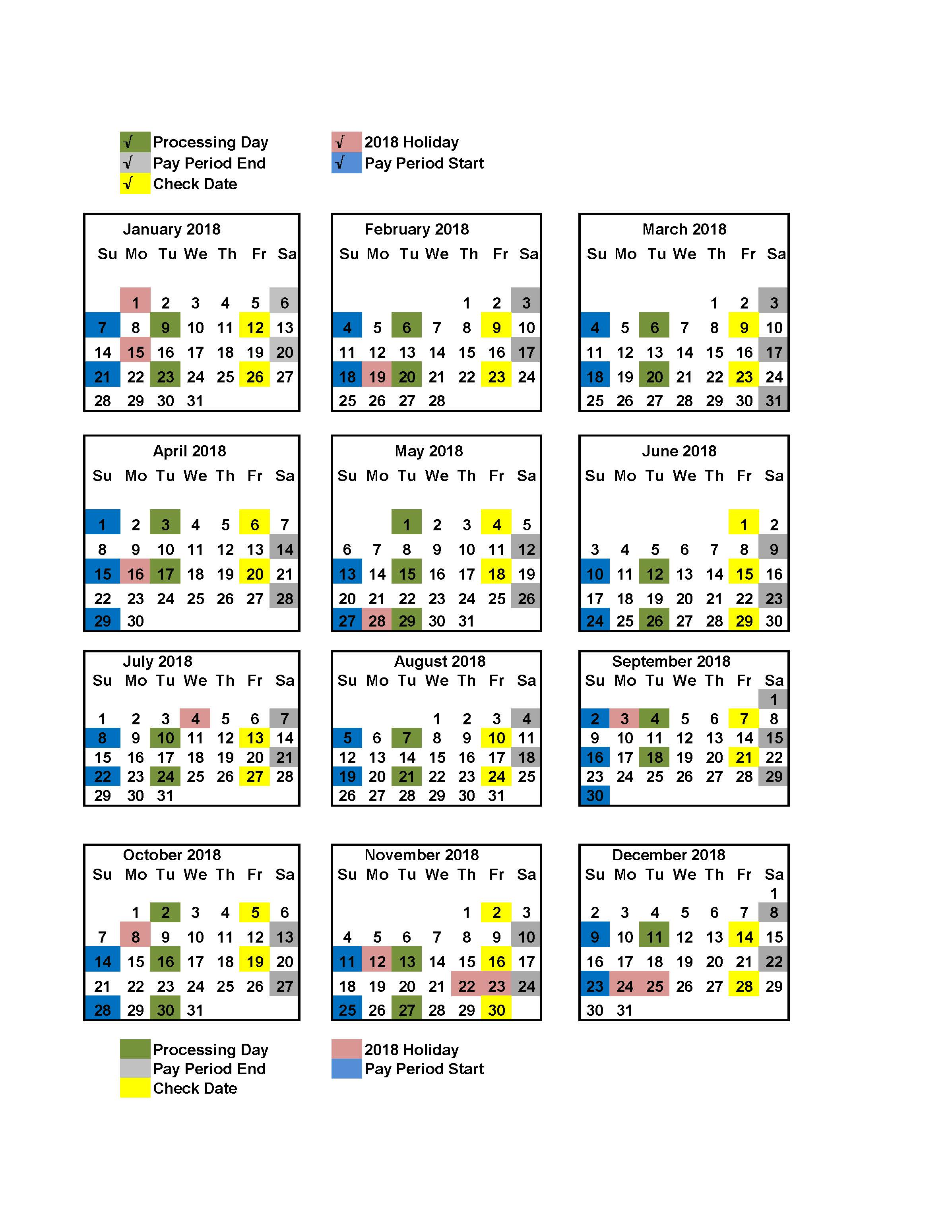 2018 Postal Payroll Calendar | Your Postal Blog