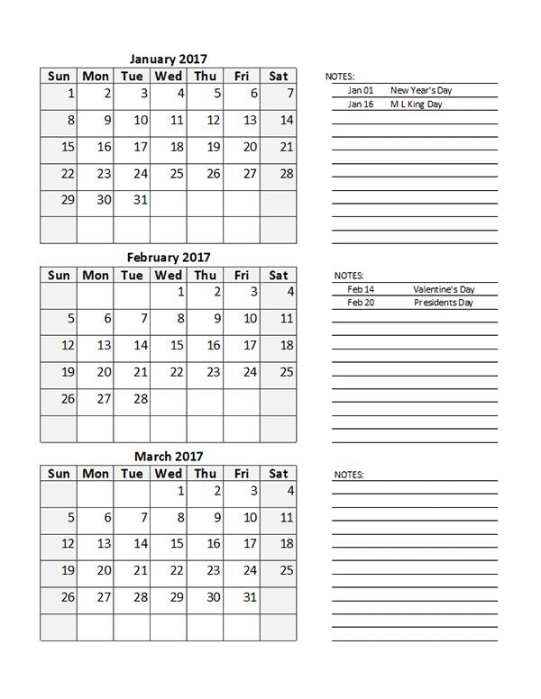 2017 Quarterly Calendar Spreadsheet Free Printable Templates