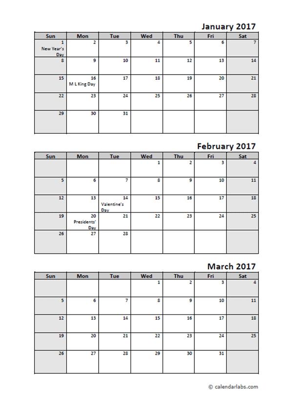 2017 Quarterly Calendar With Holidays Free Printable Templates