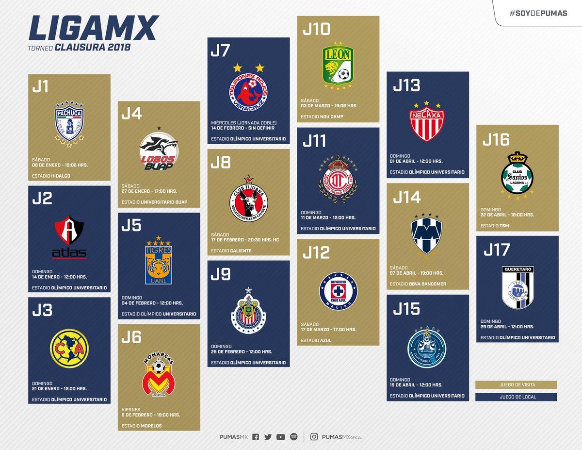 Este es el calendario de Pumas para el Clausura 2018
