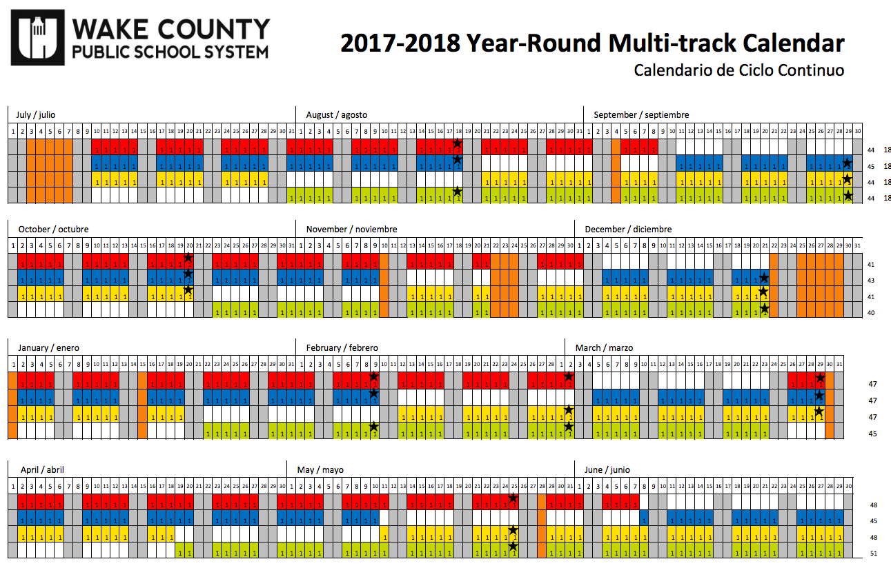 Wcpss Year Round Calendar 2017 16 | 2018 Calendar Printable