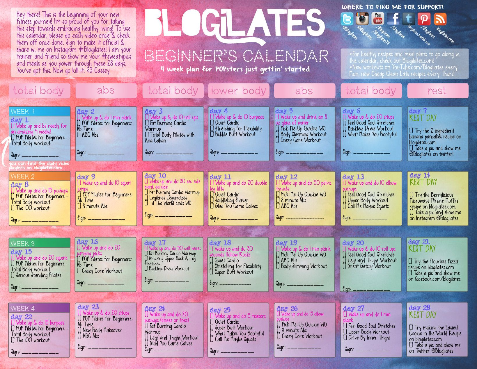 blogilates beginners calendar!!! Free youtube workouts from Cassey