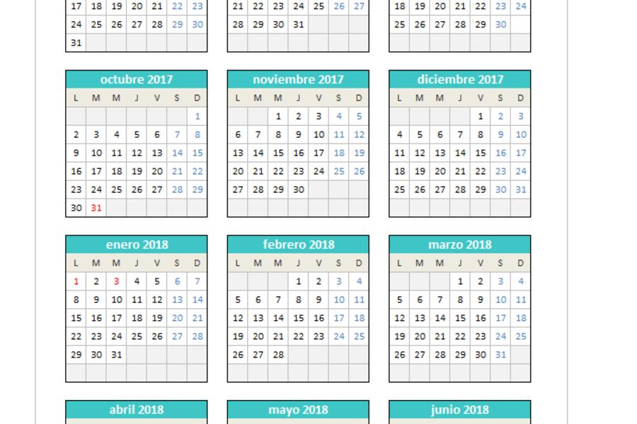 Calendario 2017/2018 en Excel PlanillaExcel.com