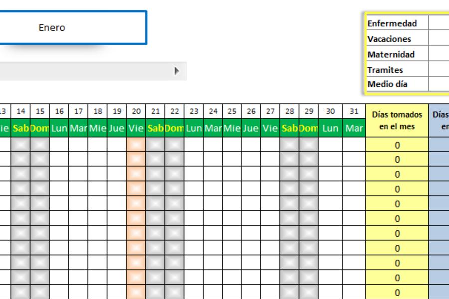 Planilla de Excel de Calendario de vacaciones de empleados