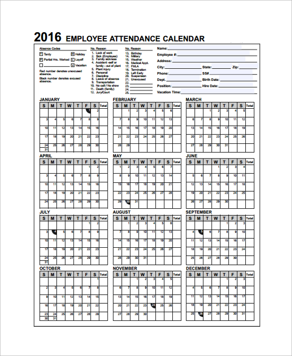 Sample Attendance Calendar Template 9+ Free Documents Download
