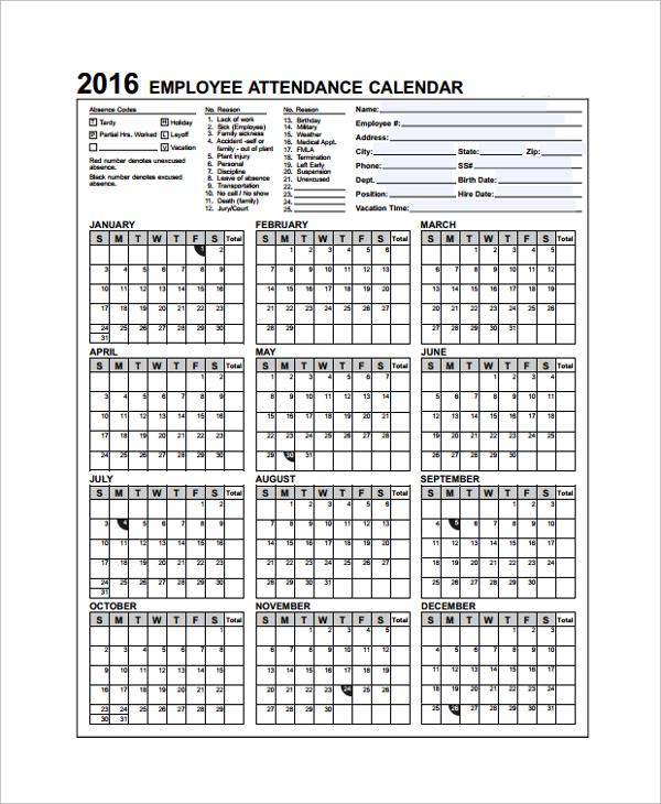 Sample Attendance Calendar Template   9+ Free Documents Download
