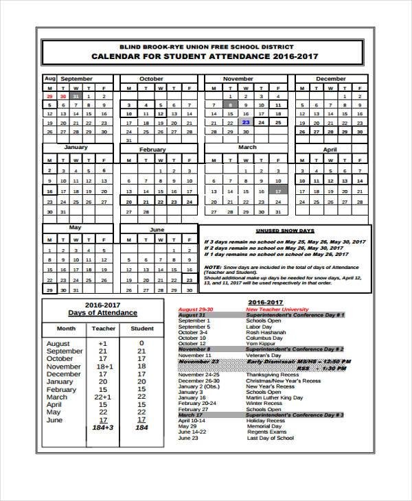 Free Printable Attendance Calendar 2016   2016 calendar