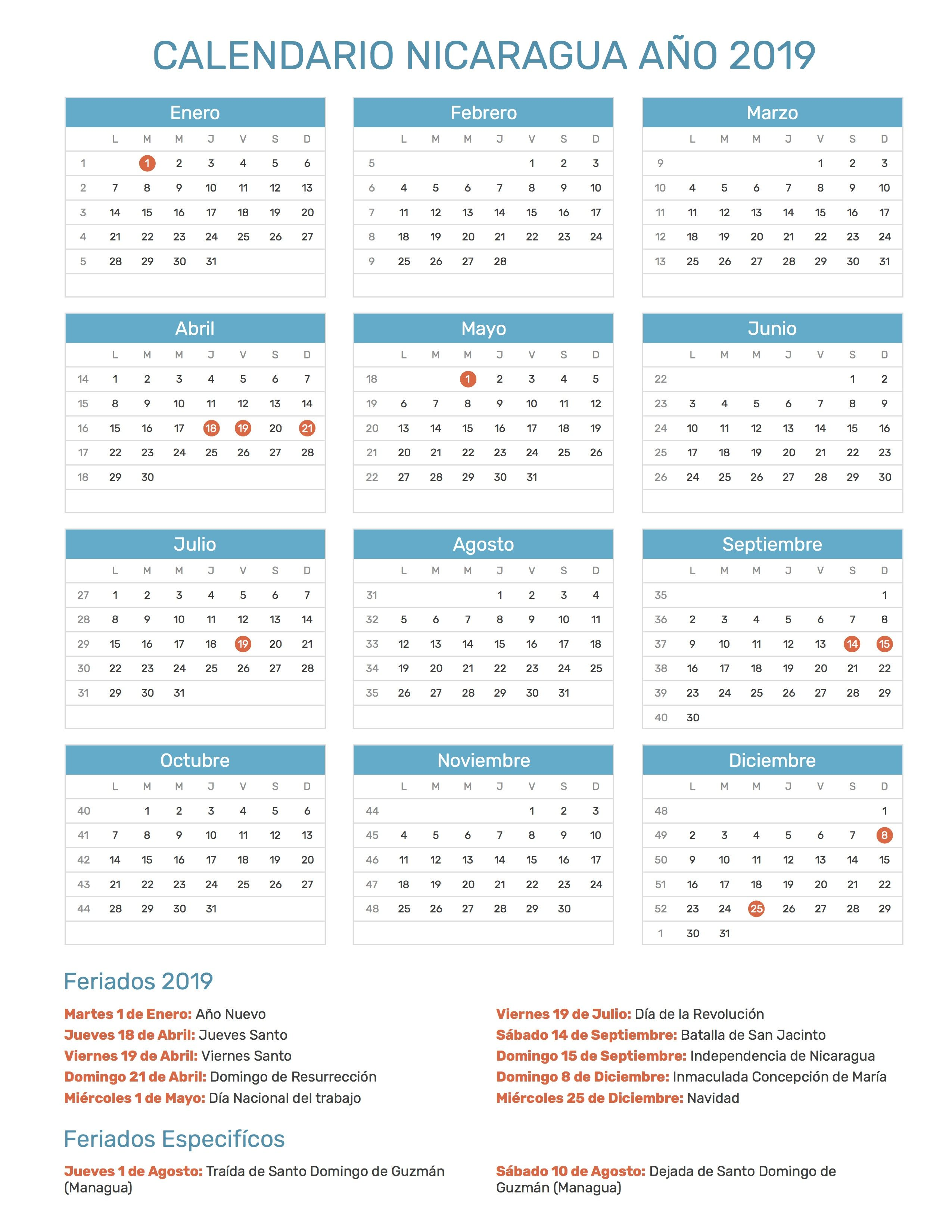 Pin de Calendario Hispano en Calendario con feriados año 2019
