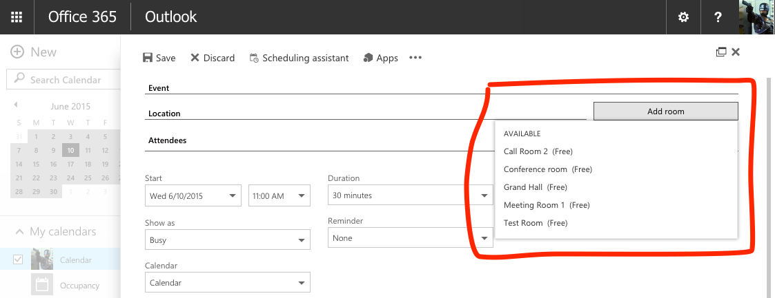 How to add meeting room calendars in Office 365 Robin