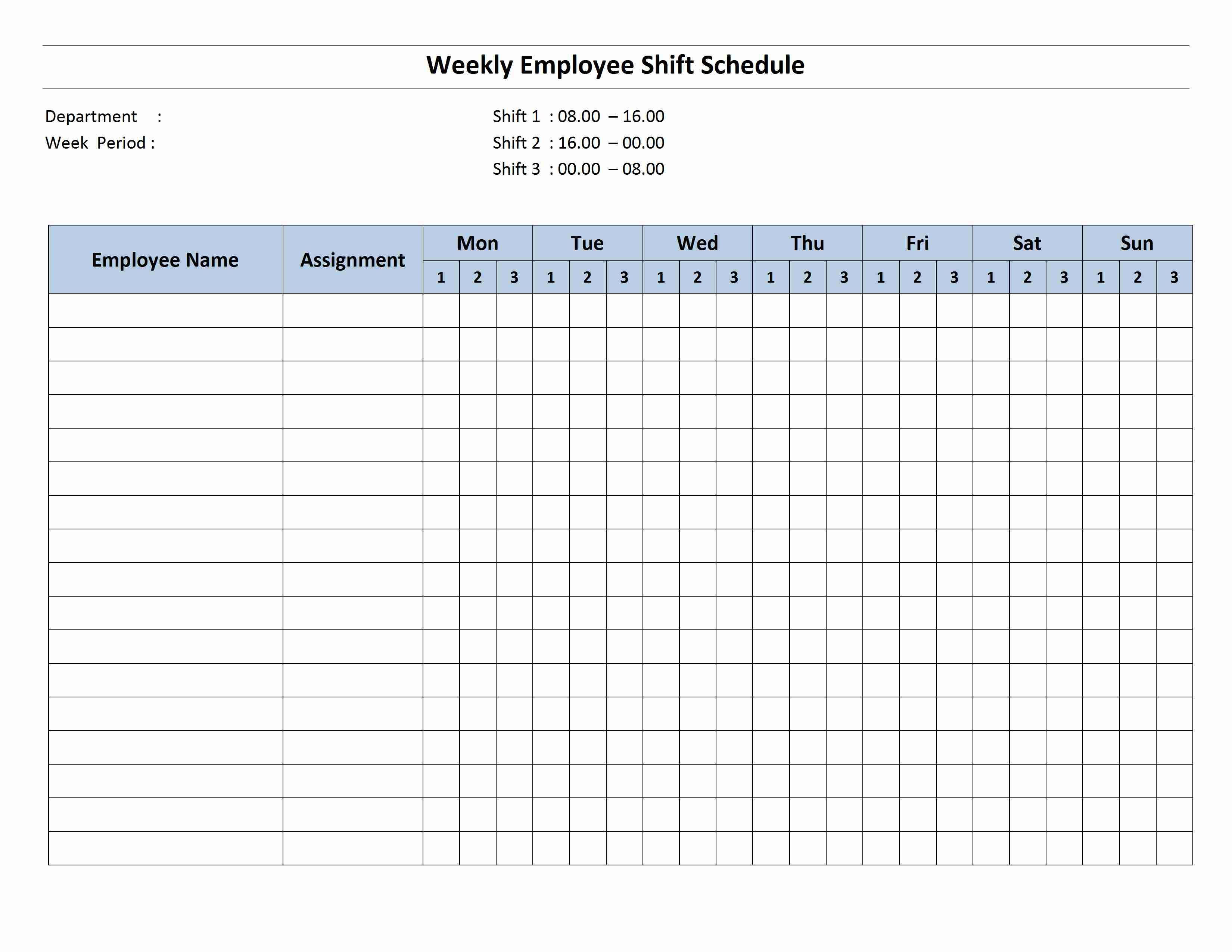 Free Monthly Work Schedule Template Weekly Employee 8 Hour Shift
