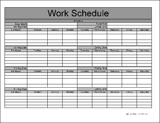 Free Monthly Work Schedule Template Weekly Employee 8 Hour ...