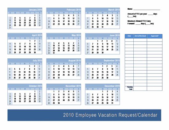 Employee Vacation Request / Calendar Template | Calendars | Ready