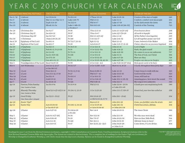Canadian Church Calendar 2019   The Anglican Church of Canada
