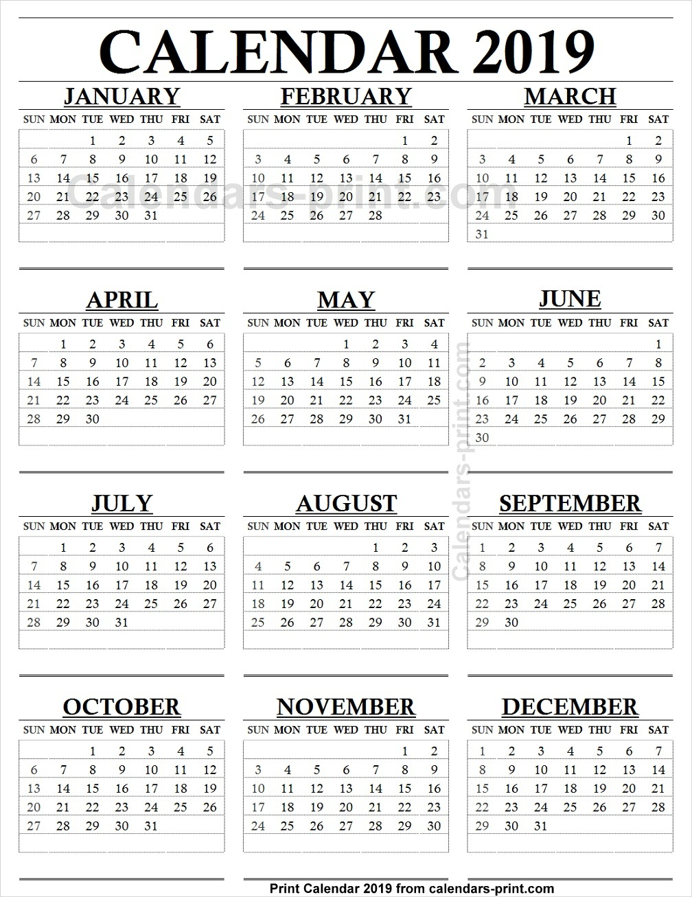 12 Month Calendar 2019 One Page to Print Free   Blank PDF Template