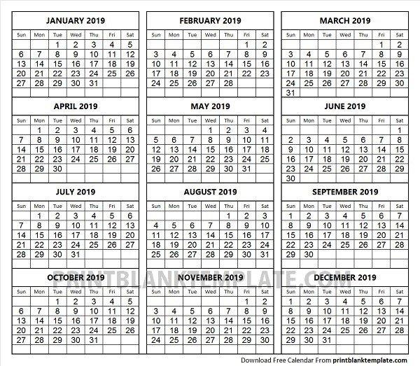 Print 12 Months Calendar Template
