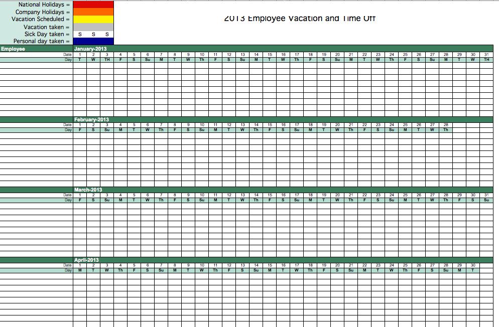 2013 Employee Attendance Tracking Calendar