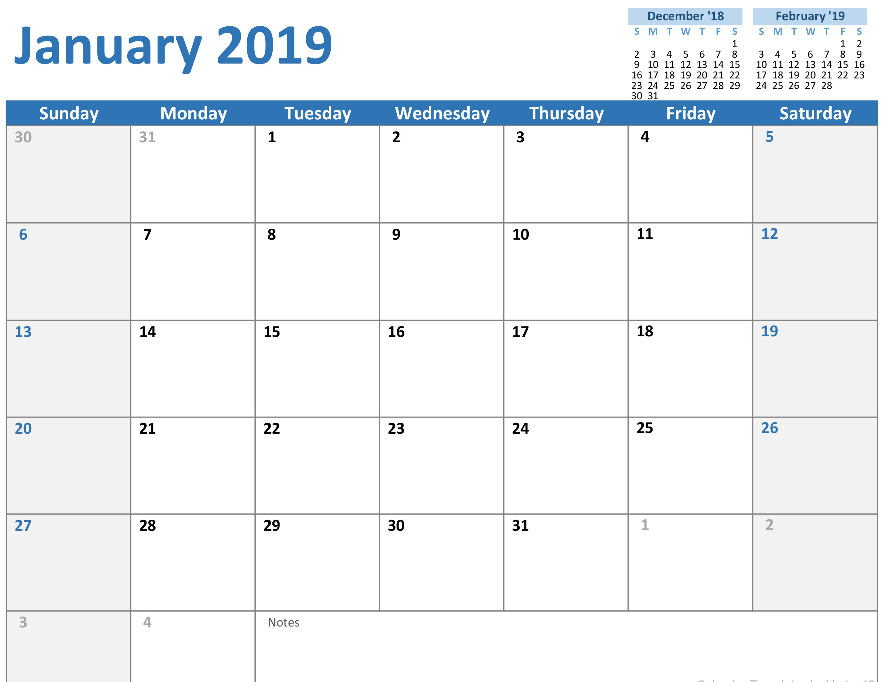 Excel Calendar Template for 2019 and Beyond