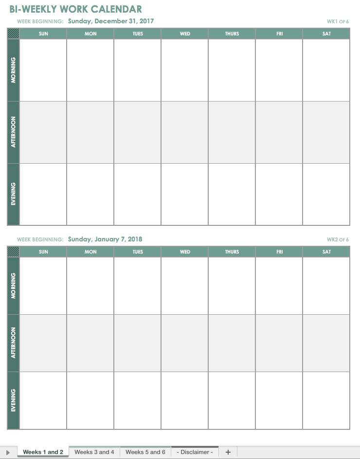 Free Excel Calendar Templates Bi Monthly Calendar Template