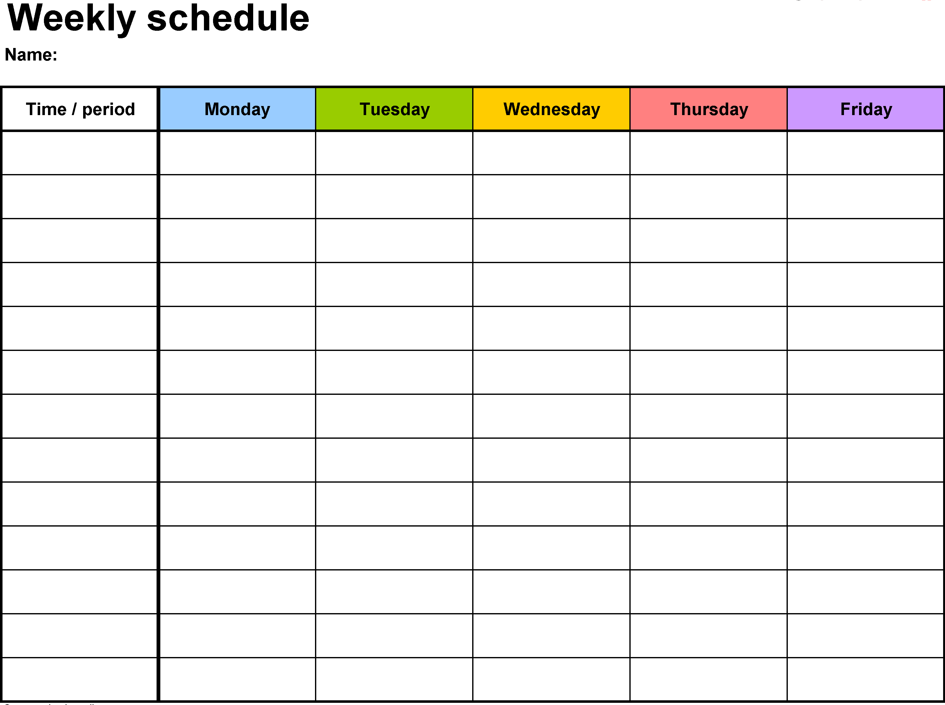 Weekly Hourly Calendar Template | Monthly Calendar Template