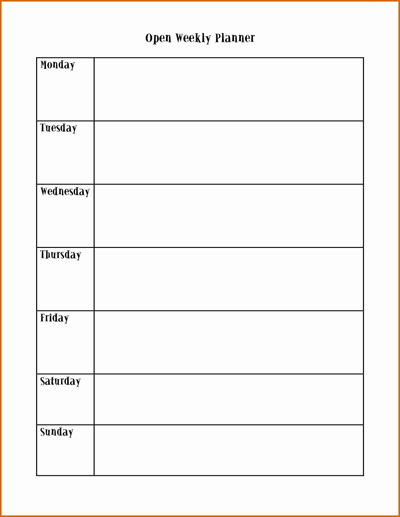 Schedule Plate Monday Through Friday Weekly Calendar Word | Smorad