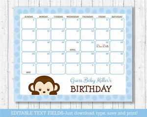 Monkey Baby Due Date Calendar Editable PDF | eBay