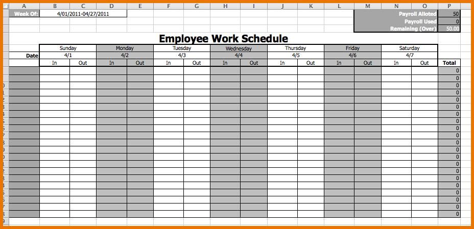 Calendar Employee Schedule Template – printable schedule template
