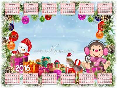 Free 2016 calendar template kids with ability to insert photos