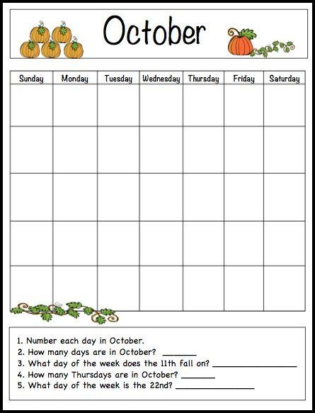October Learning Calendar Template for Kids (Free Printable