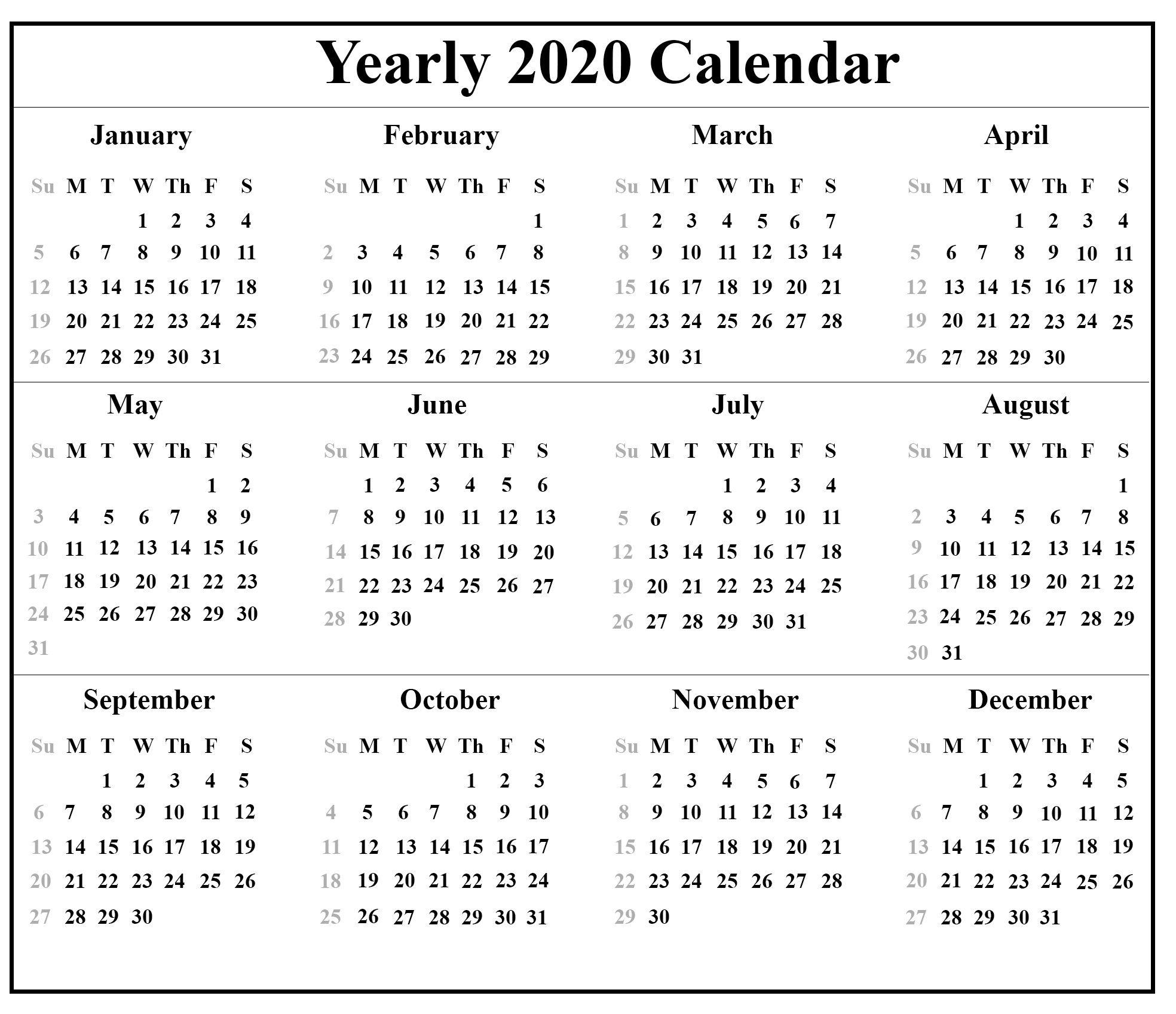 002 Impressive 2020 Calendar Template Pdf Inspiration