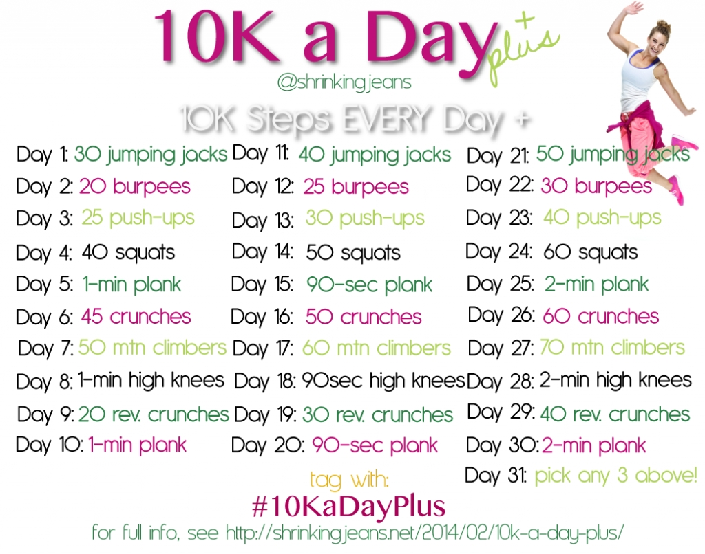 10K A Day Plus: A Free Monthly Workout Calendar | Workout