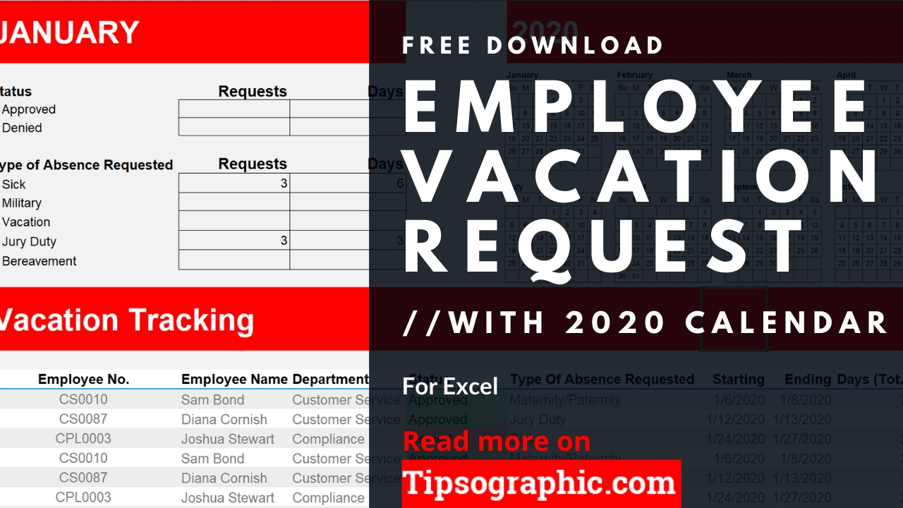 12-Month Employee Vacation Request For Excel With Calendar