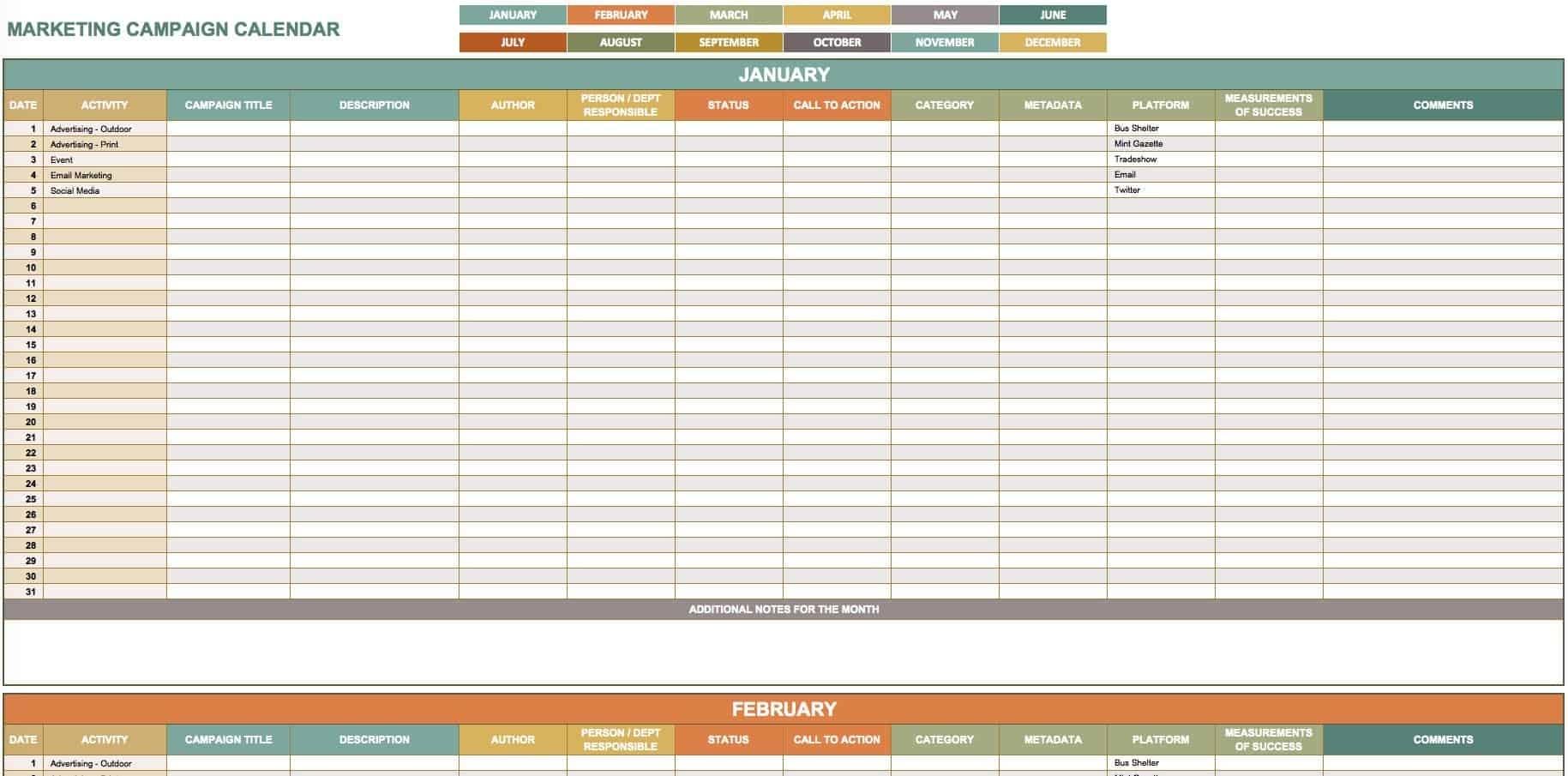 15+ Free Marketing Calendar Templates | Smartsheet