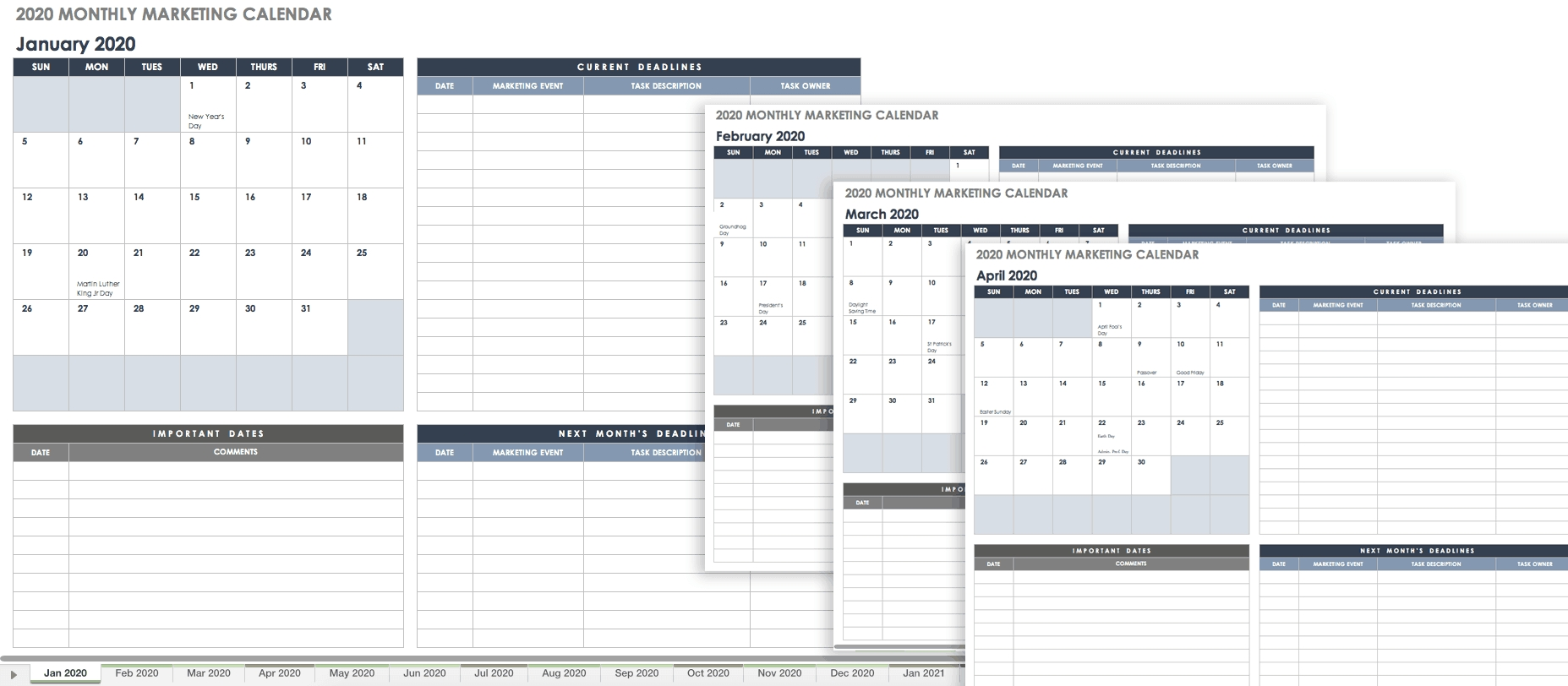 15+ Free Marketing Calendar Templates | Smartsheet