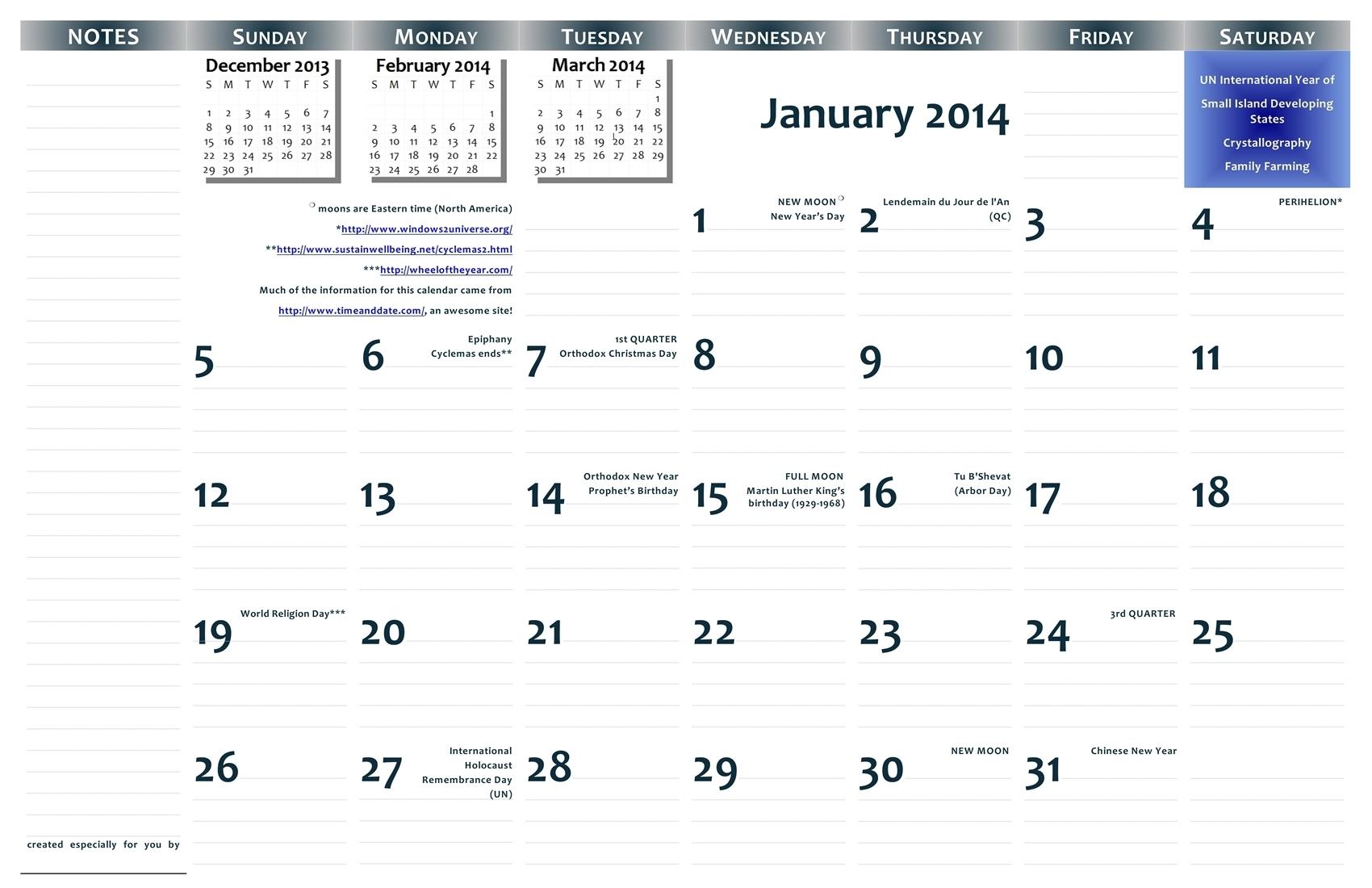 2014 11×17 Free Printable Wall Calendar — Pdf Format
