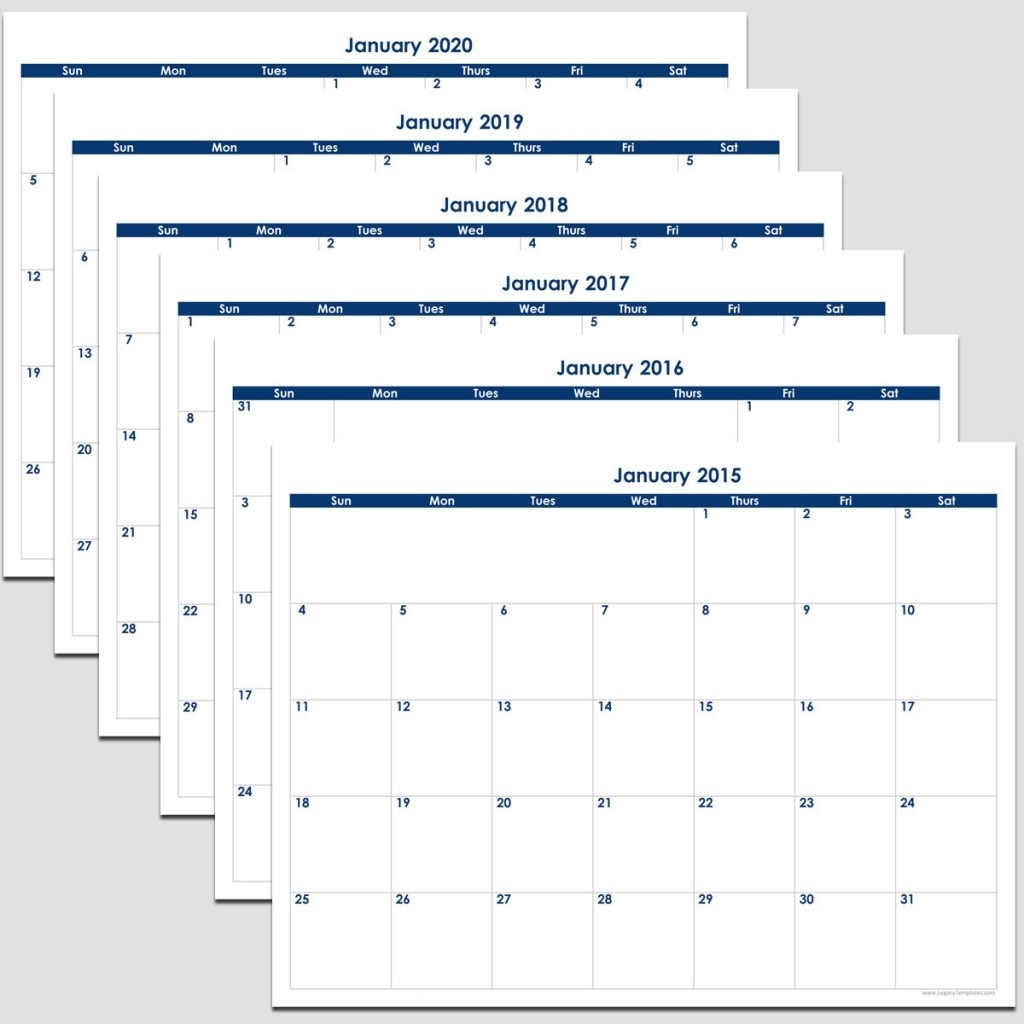 """2015 To 2020 - 72 Month Calendar - 8 1/2"""" X 11"""" 