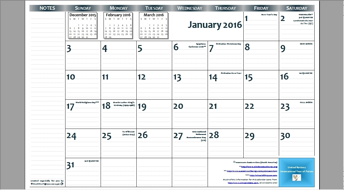 2016 11×17 Free Printable Page-Per-Month Wall Calendar With