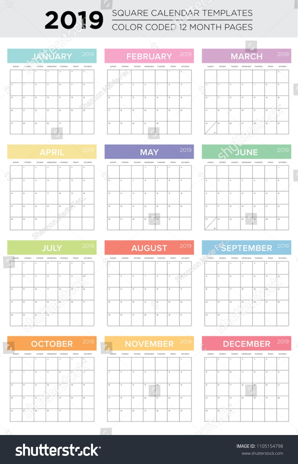 2019 12 Month Color Coded Calendar Stock Vector (Royalty