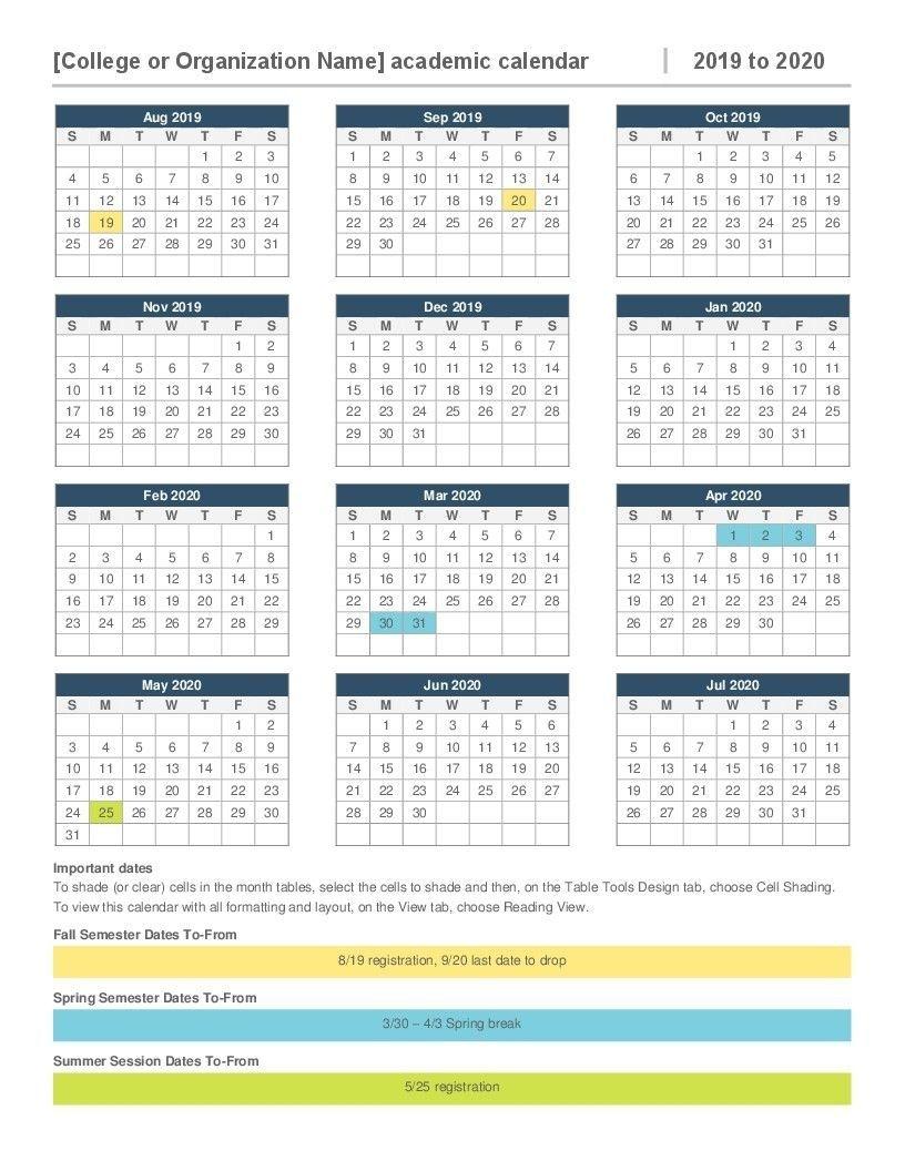 2019 2020 Academic Calendar Printable 2019 2020 Academic