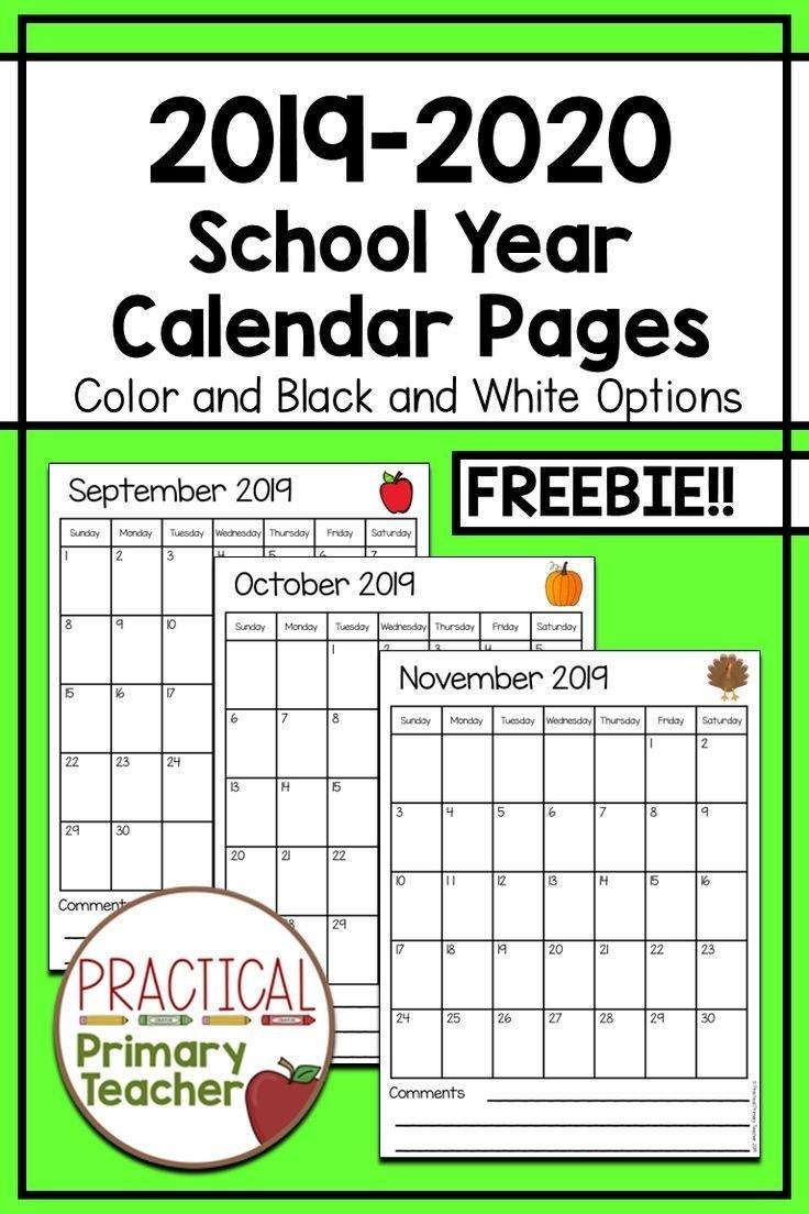 2019-2020 Calendars Free | Teacher Calendar, Printable
